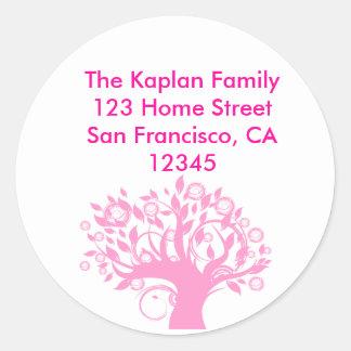 Tree of Life Pink Envelope Seal Round Sticker