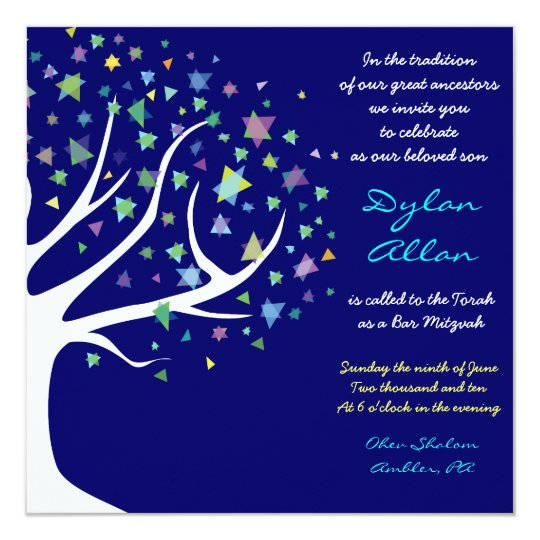 Tree of Life Stars Bar Mitzvah Invitation Blue