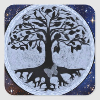 Tree of Life Stars Square Sticker