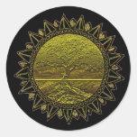 Tree of Life Sun Salutation Round Stickers