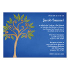 Tree of Life Swirls Blue Bar Mitzvah Invitations