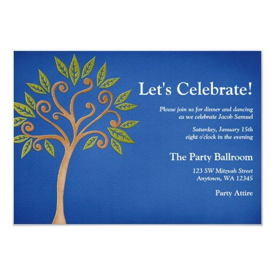 Tree of Life Swirls Blue Bar Mitzvah Reception Card
