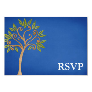 Tree of Life Swirls Blue Bar Mitzvah RSVP 9 Cm X 13 Cm Invitation Card