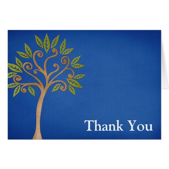 Tree of Life Swirls Blue Thank You Card