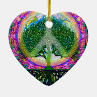 Tree of Life Unity and Peace Ceramic Heart Decoration