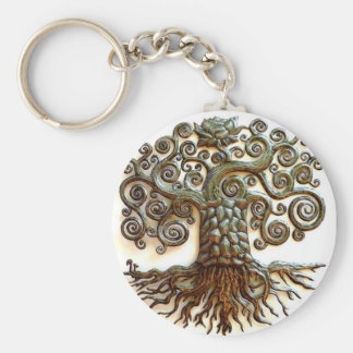 TREE OF LIFE VINTAGE ART BASIC ROUND BUTTON KEY RING