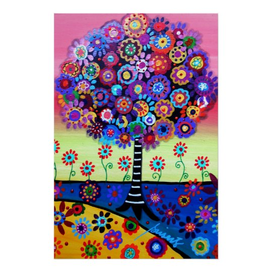 TREE OF LIFE WHIMSICAL TREE PAINTING POSTER