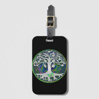 Tree of Life with Butterfly in Circle Luggage Tag