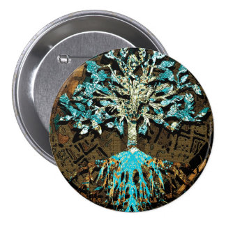 Tree of Life with Green and Blue Colors 7.5 Cm Round Badge
