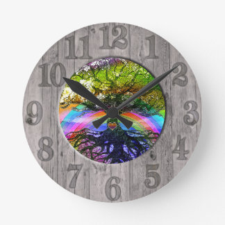 Tree of Life with Rainbow and Wood Frame Clocks