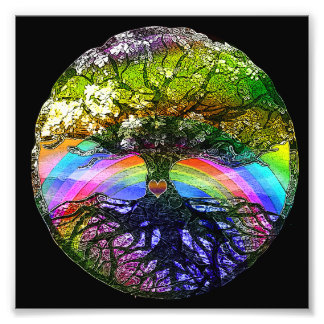Tree of Life with Rainbow Heart Photograph