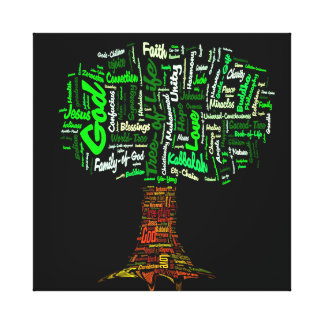 Tree of Life Word Cloud Stretched Canvas Print