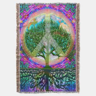 Tree of Life World Peace Rainbow Throw Blanket