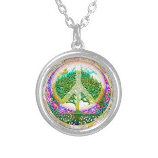 Tree of Life World Peace Round Pendant Necklace