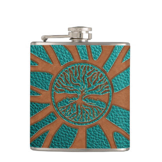 Tree of life  -Yggdrasil  - Embossed Faux Leather Hip Flask