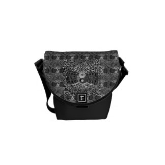 Tree of Life Yin Yang in Black and White Courier Bag