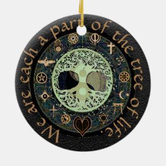 Tree of Life Yin Yang Peace Round Ceramic Decoration