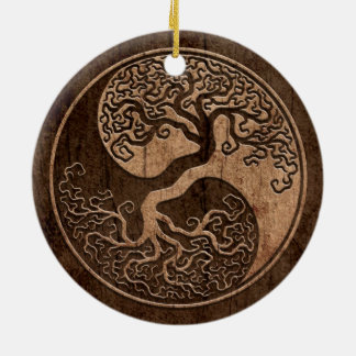 Tree of Life Yin Yang with Wood Grain Effect Christmas Ornament