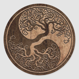 Tree of Life Yin Yang with Wood Grain Effect Classic Round Sticker
