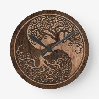 Tree of Life Yin Yang with Wood Grain Effect Clock