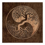 Tree of Life Yin Yang with Wood Grain Effect 13 Cm X 13 Cm Square Invitation Card