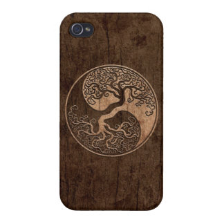 Tree of Life Yin Yang with Wood Grain Effect iPhone 4/4S Cover