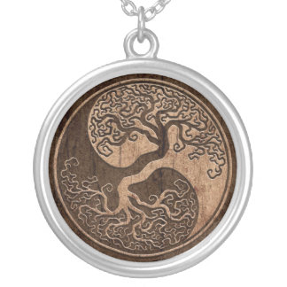 Tree of Life Yin Yang with Wood Grain Effect Silver Plated Necklace