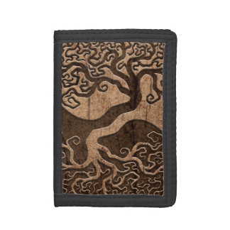 Tree of Life Yin Yang with Wood Grain Effect Tri-fold Wallet