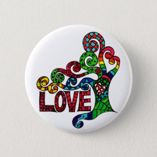 Tree of Love - colourful hippie art button badge