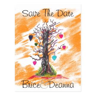 Tree of Love Orange Save The Date Postcard