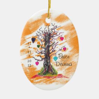 Tree of Love Orange Wedding Favor Ceramic Oval Decoration