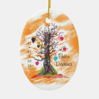 Tree of Love Orange Wedding Favor Double-Sided Oval Ceramic Christmas Ornament