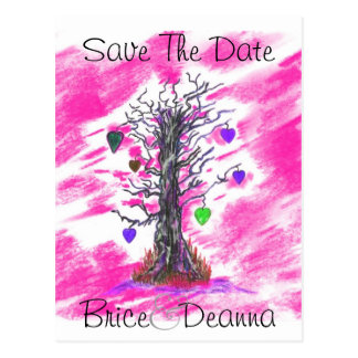 Tree of Love Pink Save The Date Postcard