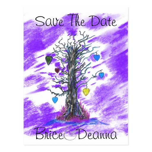 Tree of Love Purple Save The Date Postcards