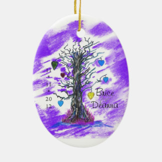 Tree of Love Purple Wedding Favor Ceramic Oval Decoration