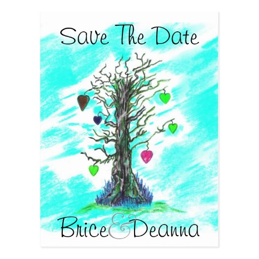 Tree of Love Teal Save The Date Post Card