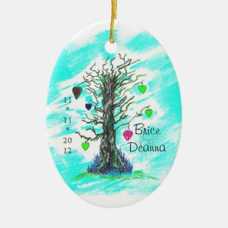 Tree of Love Teal Wedding Favor Ceramic Oval Decoration