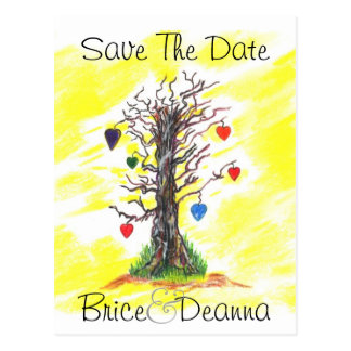 Tree of Love Yellow Save The Date Postcard