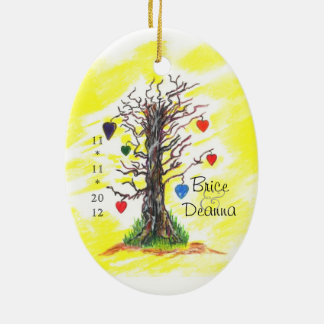 Tree of Love Yellow Wedding Favor Ceramic Oval Decoration