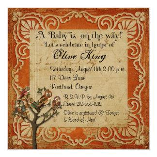 "Tree of Owls Shabby Chic  Baby Shower Invitation 5.25"" Square Invitation Card"