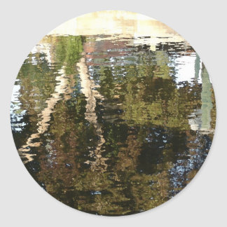 Tree On Canal Round Stickers