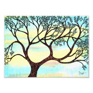 Tree on Vellum with Watercolor Background Photo Print