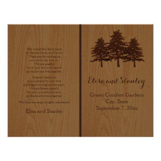 Tree on wood brown woodland wedding program flyer