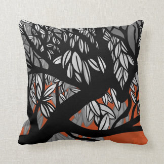 Tree (orange) throw pillow