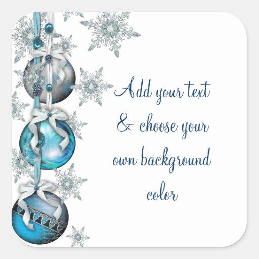 Tree Ornaments Blue Snowflakes Christmas Stickers