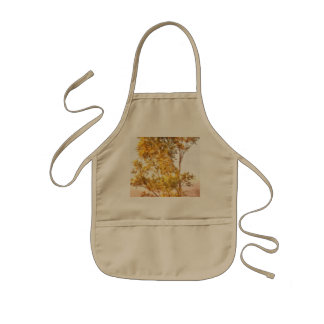 Tree outlined by setting sun kids apron