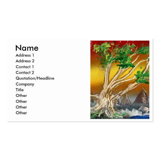 Tree Painting Red Orange with Mountains Business Cards