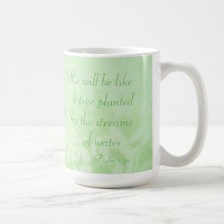 Tree Planted by Streams Paisley Ceramic Mug, Green Coffee Mug