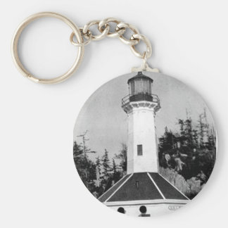 Tree Point Lighthouse Basic Round Button Key Ring