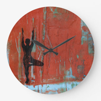 Tree Pose Yoga Girl Round Clock